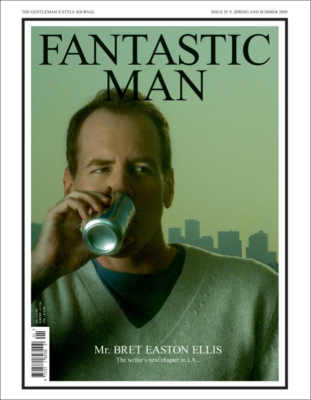 Brett Easton Ellis, front cover, issue no 9 for Spring and Summer 2009, portrait by Jeff Burton. From Fantastic Man