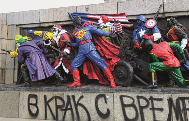 The Monument to the Soviet Army, Sofia, with its 2011 graffiti