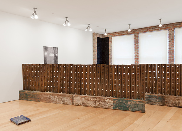 Installation view of Six Doors at the Other Room,  with Marianne Vitale's Joint Fence (for Jasper) (2015)