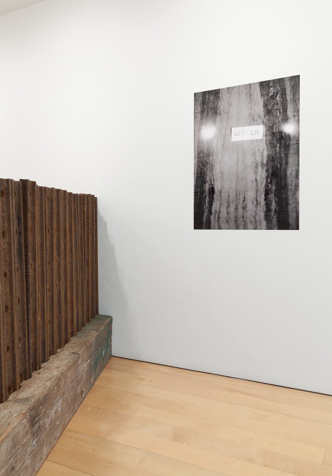 Trisha Donnelly's Let 'Em (2015) and Marianne Vitale's Joint Fence (for Jasper) (2015), in Six Doors at the Other Room, New York