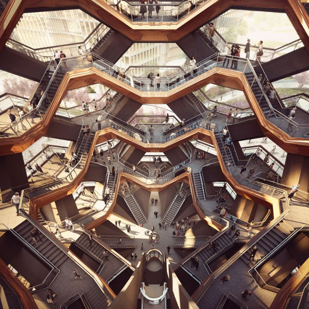 Vessel by Heatherwick Studio. Rendering by Forbes Massie-Heatherwick Studio