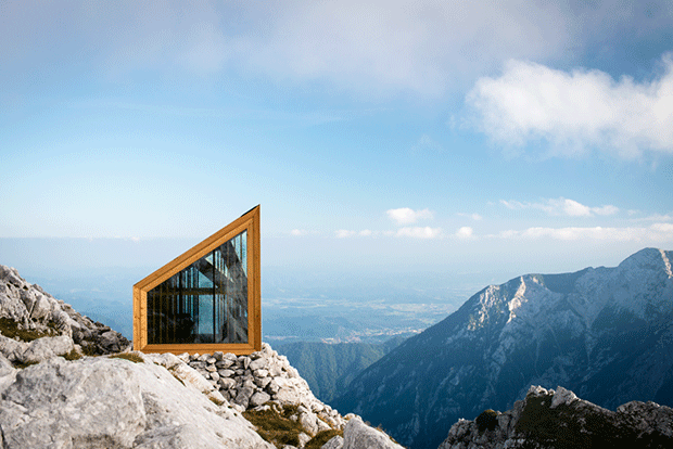 The Alpine Shelter, Slovenia by Rieder Smart Elements and OFIS Arhitekti. Photograph by OFIS. From Elemental Living