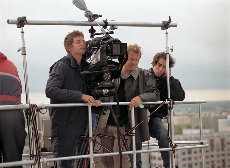 Anri Sala (left) on the set of Long Sorrow (2005), Berlin