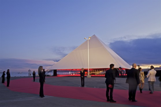 OMA's temporary Cannes film pavilion, built for Kanye West