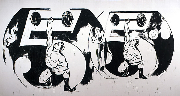 Andy Warhol, Double $5/Weightlifter, 1985–86, The Andy Warhol Museum, Pittsburgh, © The Andy Warhol Foundation for the Visual Arts, Inc.