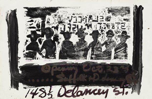 Bob Thompson, Announcement for opening at Delancey Street Museum, New York, 1959. Ink on paper, 22 x 34 in. Estate of Bob Thompson © Estate of Bob Thompson; Courtesy Michael Rosenfeld Gallery LLC, New York, NY. Courtesy of the Grey Art Gallery