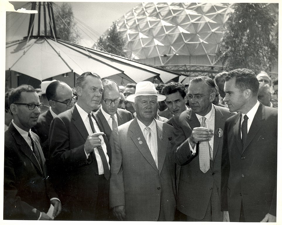 Vice President Richard Nixon and Soviet Premier Nikita Krushchev tour the American National Exhibition in Sokolniki Park, Moscow, 24, July 1959. Image courtesy of the State Department