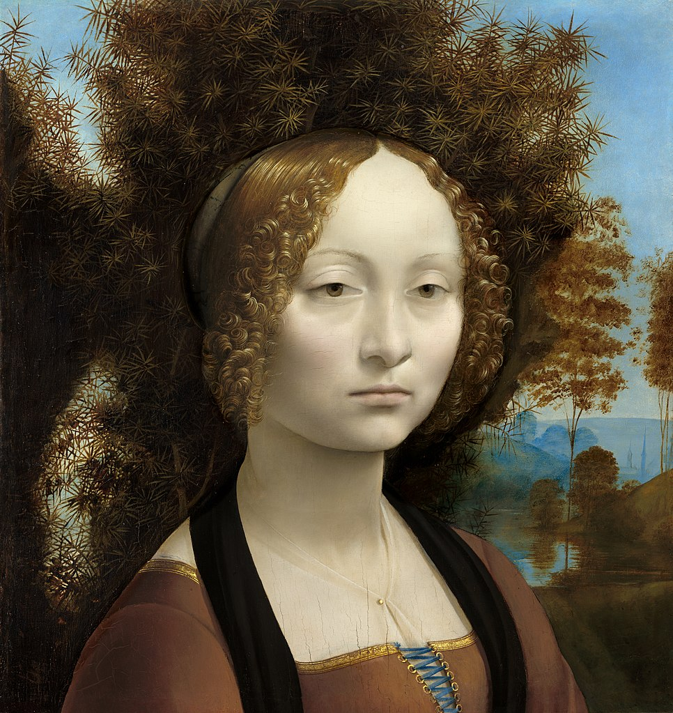 Ginevra de' Benci (c. 1475) by Leonardo da Vinci, as reproduced in 30,000 Years of Art