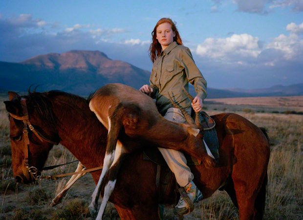 The 2010 winner of the Taylor Wessing Portrait Prize, David Chancellor's, Huntress with Buck, from the series, Hunters