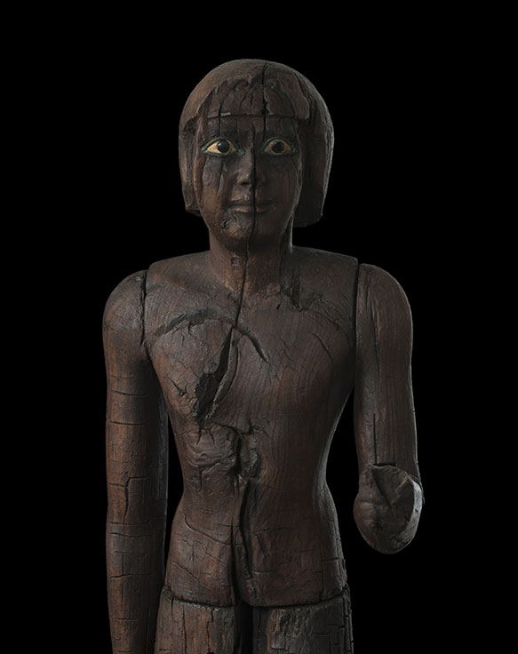 A large wooden statue from ancient Egypt. Courtesy of Sycomore Ancient Art