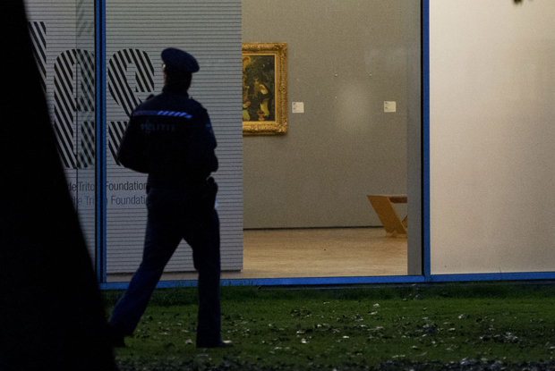 Police examine Rotterdam Kunsthal's bare walls, following the theft back in October