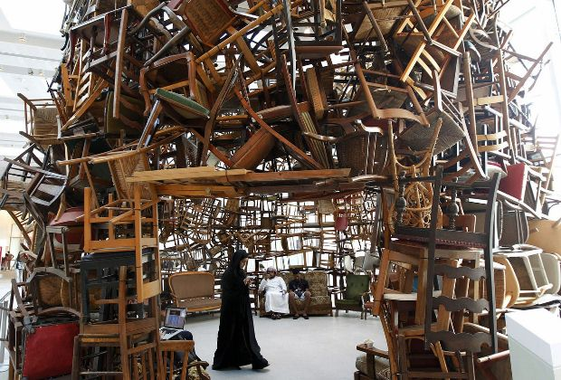 Chairs by Tadashi Kawamata at the Abu Dhabi Art Fair