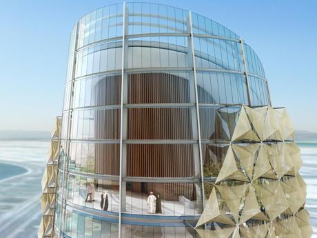 Abu Dhabi S Sun Sensitive Twin Towers Architecture