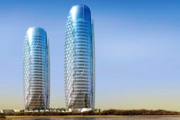 Abu Dhabi's sun sensitive twin towers | Architecture