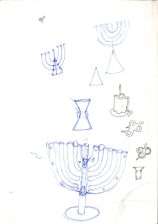 Menorah candlesticks, 1985 by Achille Castiglioni for Alessi. From Alessi - In-Possible