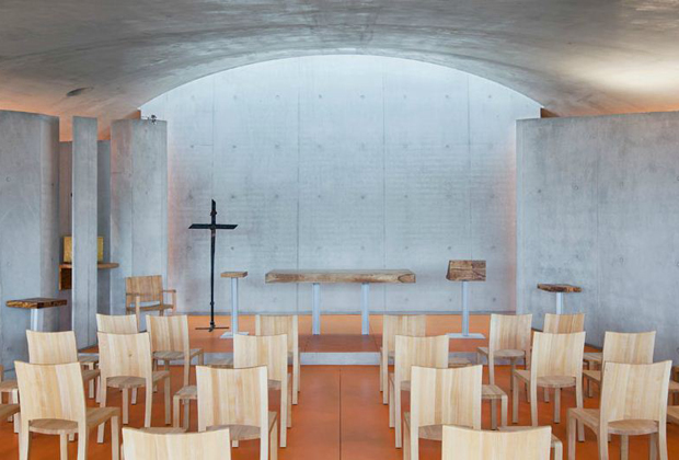 The oratory inside Renzo Piano's new convent in Ronchamp, France