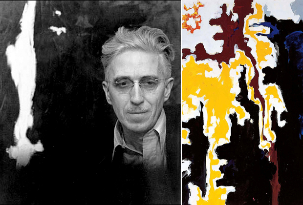 Portrait photograph of Clyfford Still (left) and his work PH-455 (1949), Gouache on paper, 30 x 22 in (right)