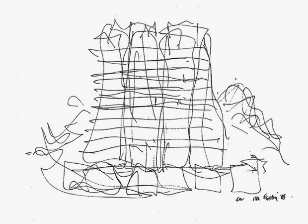 Frank Gehry's first project in Hong Kong, opening next year, started out as nothing more than this quick sketch