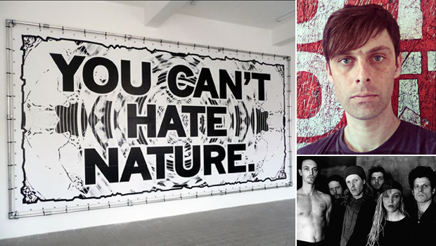 Mark Titchner's work 'You Can't Hate Nature' (2009) (left), portrait of the artist (top right) and influential post punk band Swans (bottom right) who feature on the artist's Muse Music playlist today
