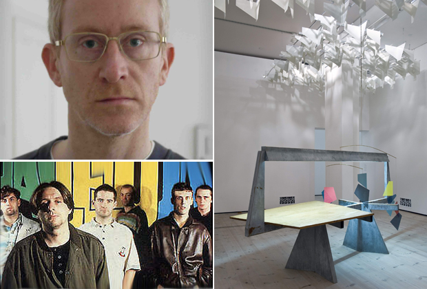 Portrait of artist Martin Boyce (2011) (top left), the band Happy Mondays who feature on his Muse Music playlist (bottom left) and an installation view of his work now on show at BALTIC for the Turner Prize 2011 (right) (photograph by Colin Davison)