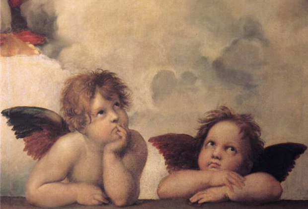 500 years old and still a kid at heart. Raffaello Sanzio Raphael, Two Cherubs (detail of the Sistine Madonna), (c.1512 -1514), Oil on panel. 265 x 196 cm. Gemäldegalerie, Germany