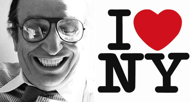 Milton Glaser photographed by Sam Haskins and the 'I Love NY' logo he designed in 1977