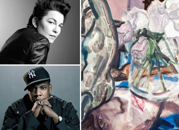 Elizabeth Peyton (top left) photographed by Inez van Lamsweerde and Vinoodh Matadin, her painting 'Acteon, Justin Bieber and Grey Roses' (2011) (right) and Jay-Z (bottom left) who features in her Muse Music playlist today