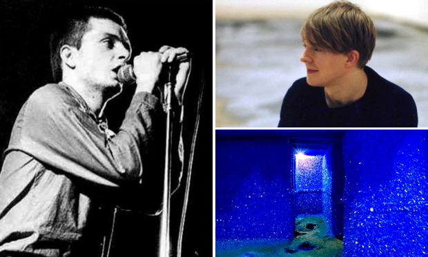 Artist Roger Hiorns (top right), his 2008 sculpture 'Seizure' and Ian Curtis of Joy Division (left), one of the artists who have inspired him