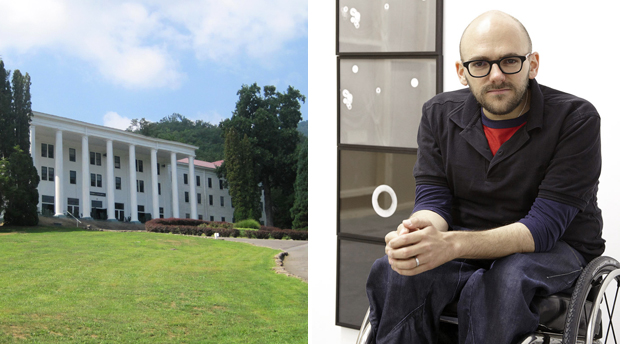 (Left) Black Mountain College was located in the YMCA building North Carolina between 1933 to 1941 (Right) Artist Ryan Gander