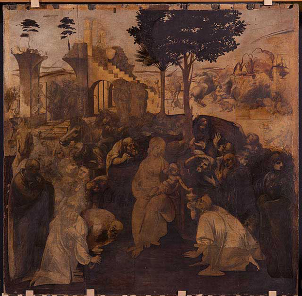 The Adoration of the Magi (1481-2) by Leonardo da Vinci