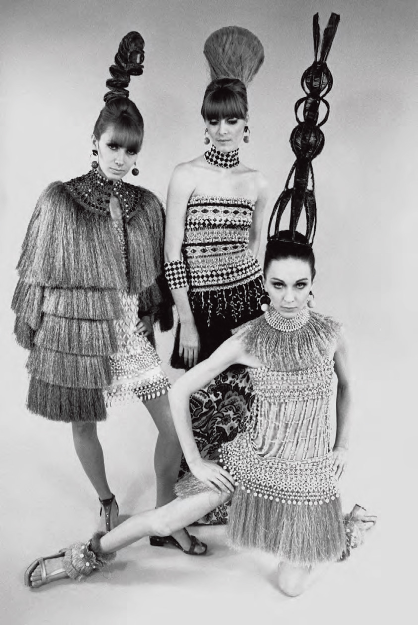 Evening dresses with accessories inspired by Bambara art, Spring/Summer 1967 haute couture collection