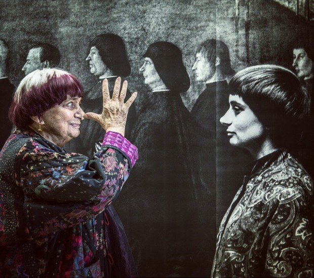 Varda with her 1962 portrait, in JR's studio. Image courtesy of JR's Instagram