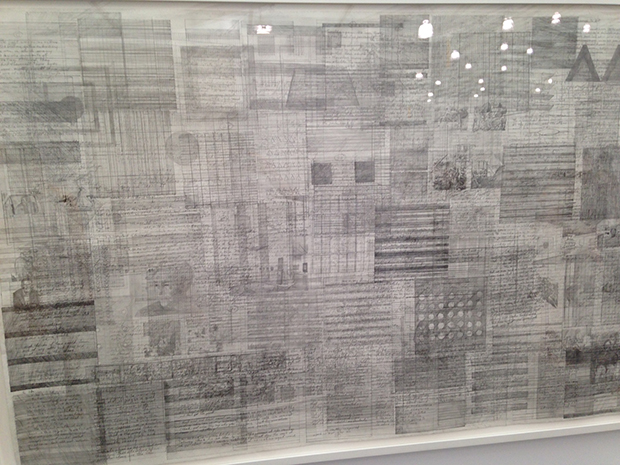 Ciprian Mureşan's 2014 drawing, Agnes Martin, at Frieze New York