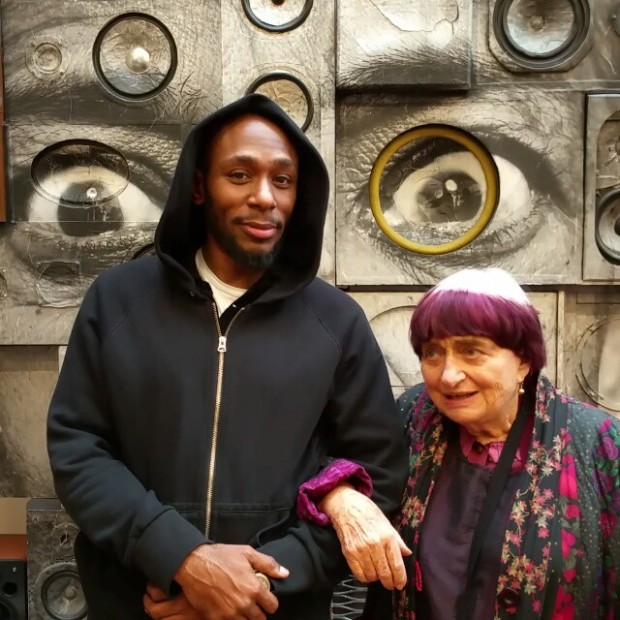 Agnes Varda and the rapper Mos Def in JR's studio. Image courtesy of JR's Instagram