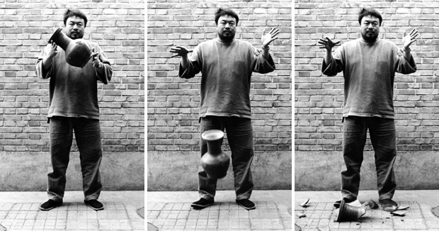 Ai Weiwei, Dropping a Han Dynasty Urn (1995) Three black and white photographs, each 148 x 121cm