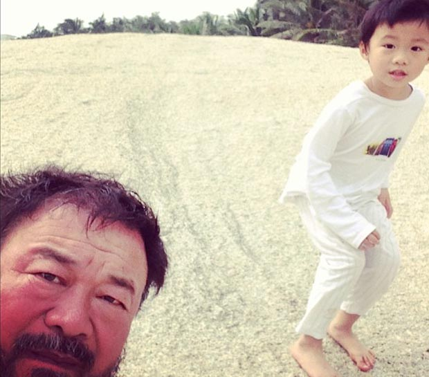 Ai Weiwei and his son, 2013. Courtesy of the artist's Instagram