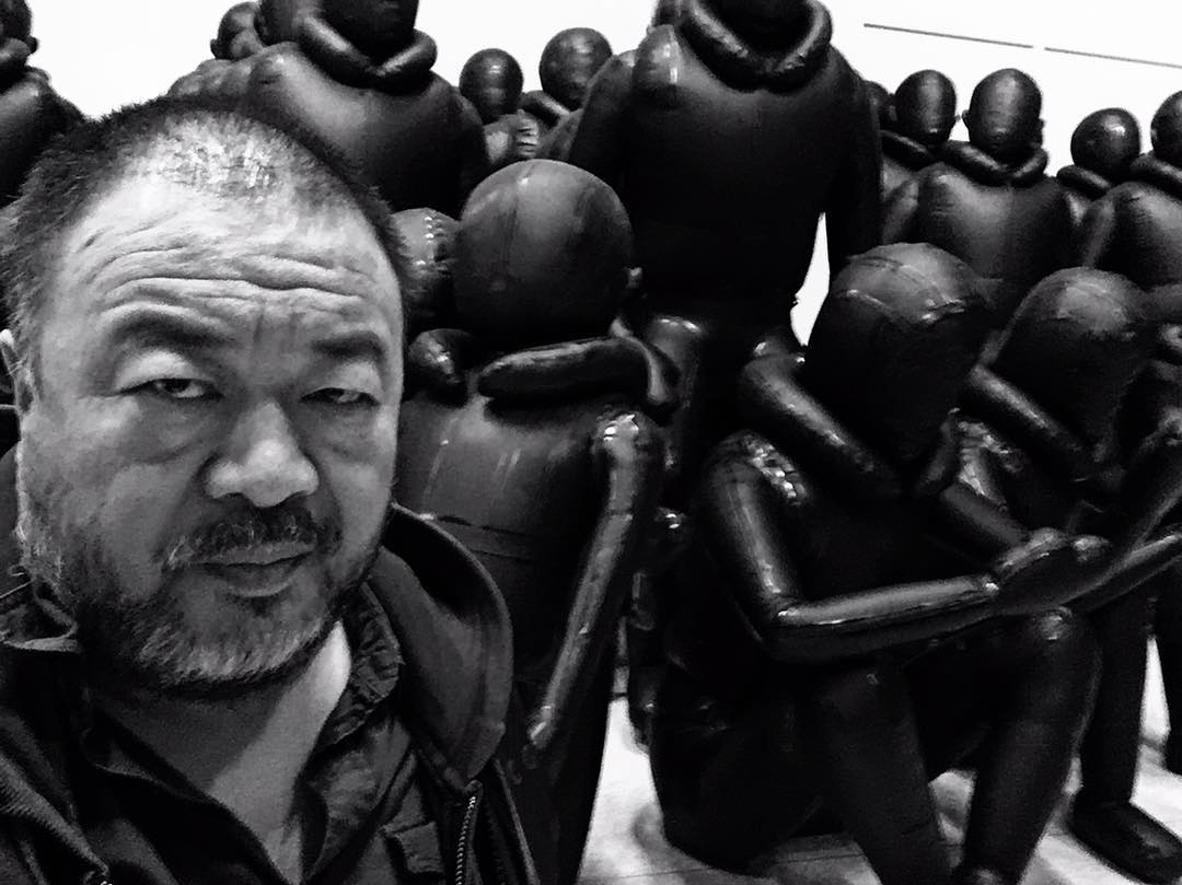 Where is Ai Weiwei showing his new migrant artwork?
