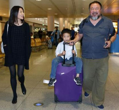 'This is way faster through the corners than that marble one dad' - Ai Weiwei and family arrive in Germany a few weeks ago