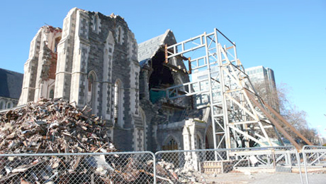 Christchurch Old Cathedral was reduced to rubble a year ago