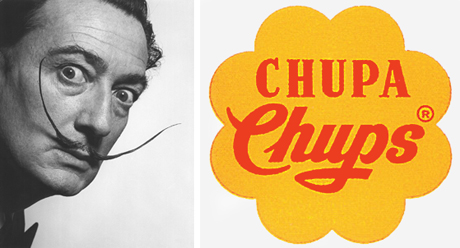 Salvador Dalí in 1954 and the Chupa Chups logo he designed in 1969