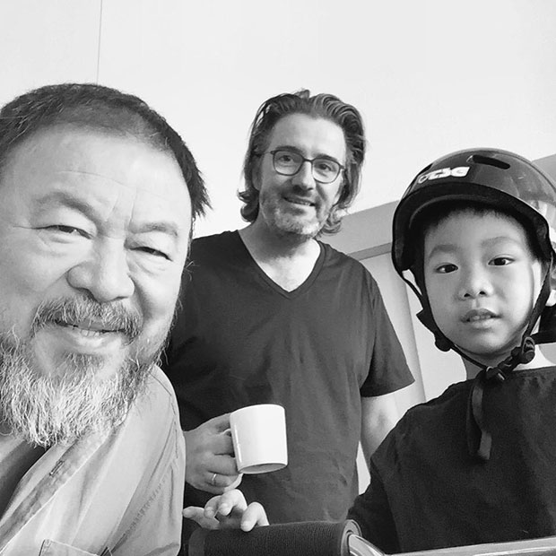 Ai Weiwei, Olafur Eliasson and Ai Lao. Image courtesy of Ai Weiwei's Instagram