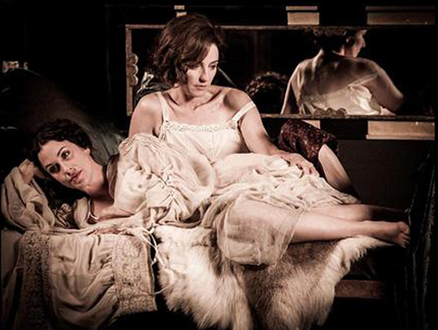 Alanis Morissette (reclining) as Damia and Orla Brady as Eileen Gray in The Price of Desire (2014). Photograph courtesy Julian Lennon