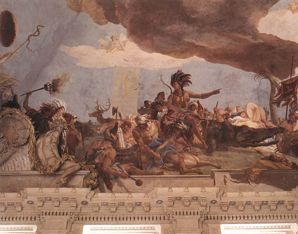America, from Giambattista Tiepolo, Apollo and the Four Continents, 1752–3. Ceiling fresco, stairwell of the Episcopal Palace, Würzburg, Germany