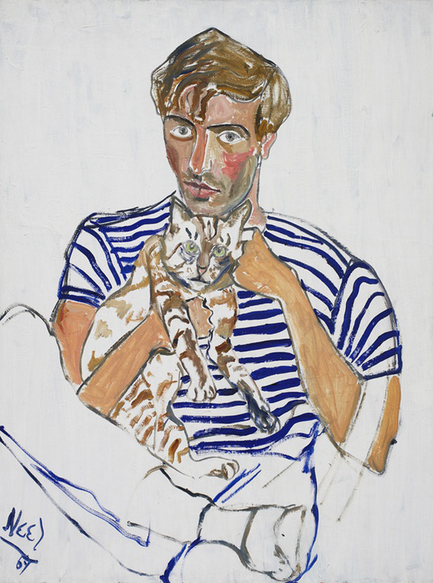 Hartley With a Cat (1969) by Alice Neel