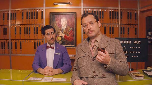 Jason Schwartzman and Jude Law, in Wes Anderson's The Grand Budapest Hotel
