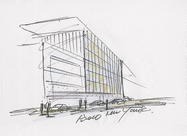 Drawing for 152 Elizabeth Street by Tadao Ando