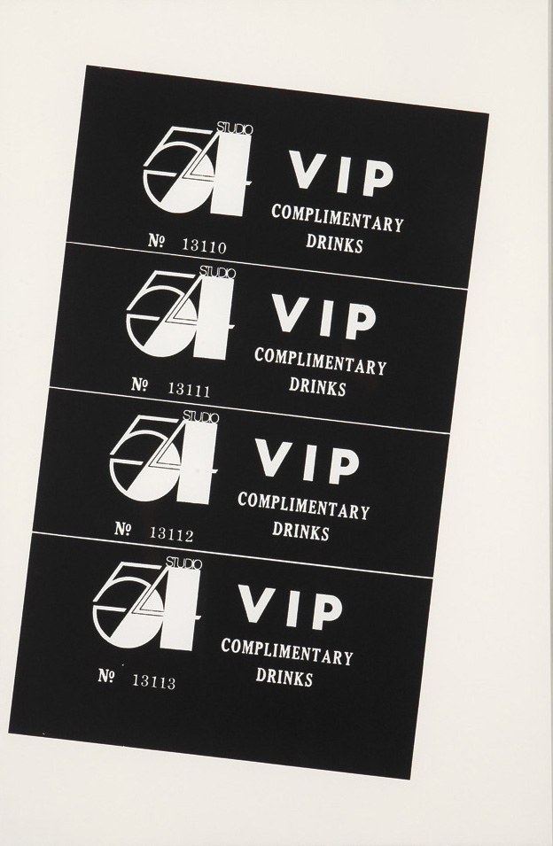 Studio 54 Complimentary Drink Invitation, (1978) by Andy Warhol