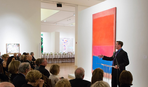 Dr David Anfam addressing guests at Sotheby's in London, 2012