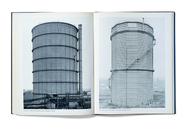 Spread from Bernd and Hill Becher's Anonyme Skulpturen (1970) from Martin Parr and Gerry Badger's Photobook series