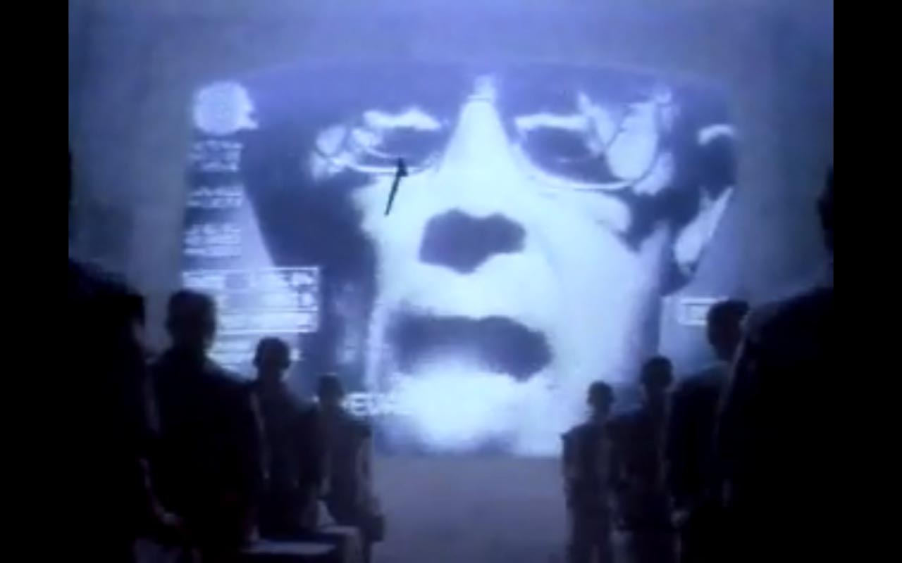 A still from Apple's 1984 Superbowl commercial, as reproduced in California